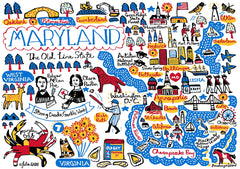 Whimsical, wanderlust illustration of Maryland featuring Baltimore, Annapolis, Chesapeake Bay, Bethesda and Cumberland.  The Maryland crab and USNA are beautiful illustrations by map maker Julia Gash