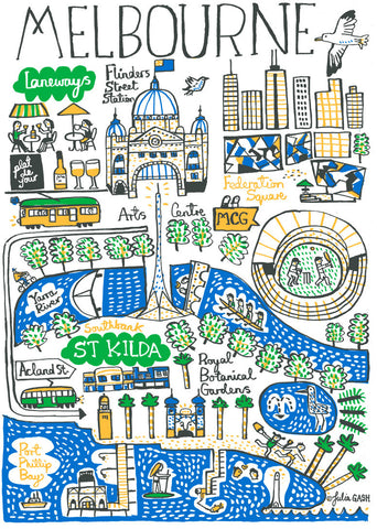 Melbourne Australia cityscape illustration by Julia Gash