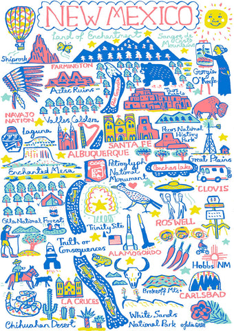New Mexico state map illustration art print by travel artist Julia Gash featuring Santa Fe, Albuquerque, Clovis, Roswell, Carlsbad, Navajo Nation