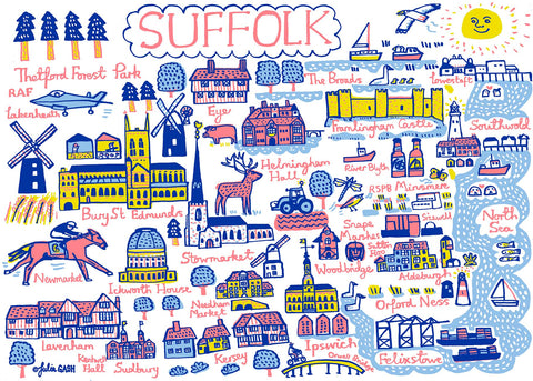 Suffolk contemporary and whimsical art print by British map illustrator, Julia Gash, featuring Southwold, Aldeburgh, Lowestoft and Lavenham