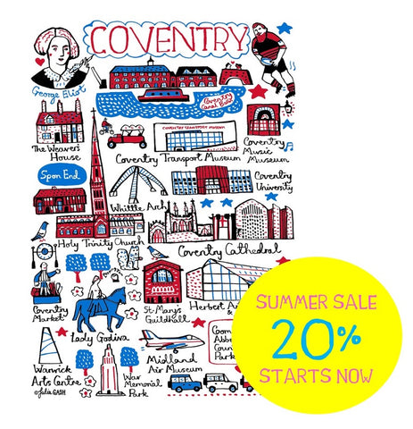 Coventry city of culture map illustration by Julia Gash