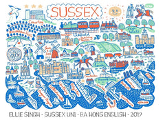 Sussex map illustration by Julia Gash featuring Brighton, Hove, Eastbourne, Hastings and Worthing, customisable