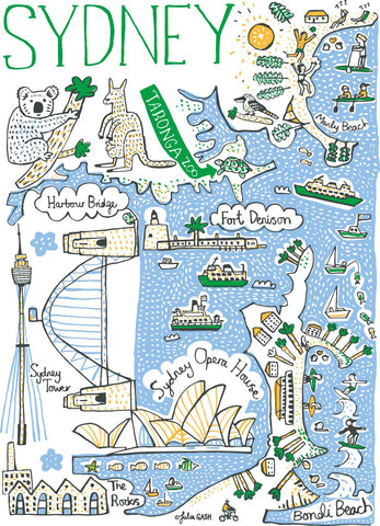 Sydney Australia illustrated map and travel art by British artist Julia Gash
