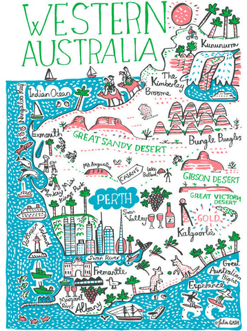 Western Australia travel print featuring Perth, by British map illustrator Julia Gash