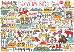 Wyoming state travel art print by map illustrator Julia Gash featuring Cheyenne, Casper, Gillette, Jackson, Yellowstone National Park and the Rocky Mountains by travel artist Julia Gash