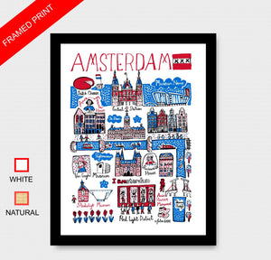 Amsterdam Art Print by British Travel Artist Julia Gash - Julia Gash