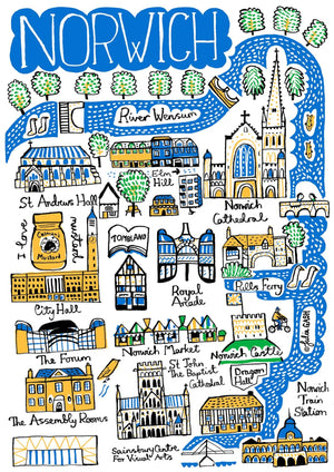 Norwich Art Print by British Travel Artist Julia Gash - Julia Gash