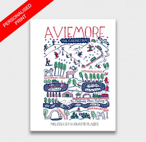 Aviemore Art Print by British Travel Artist Julia Gash - Julia Gash