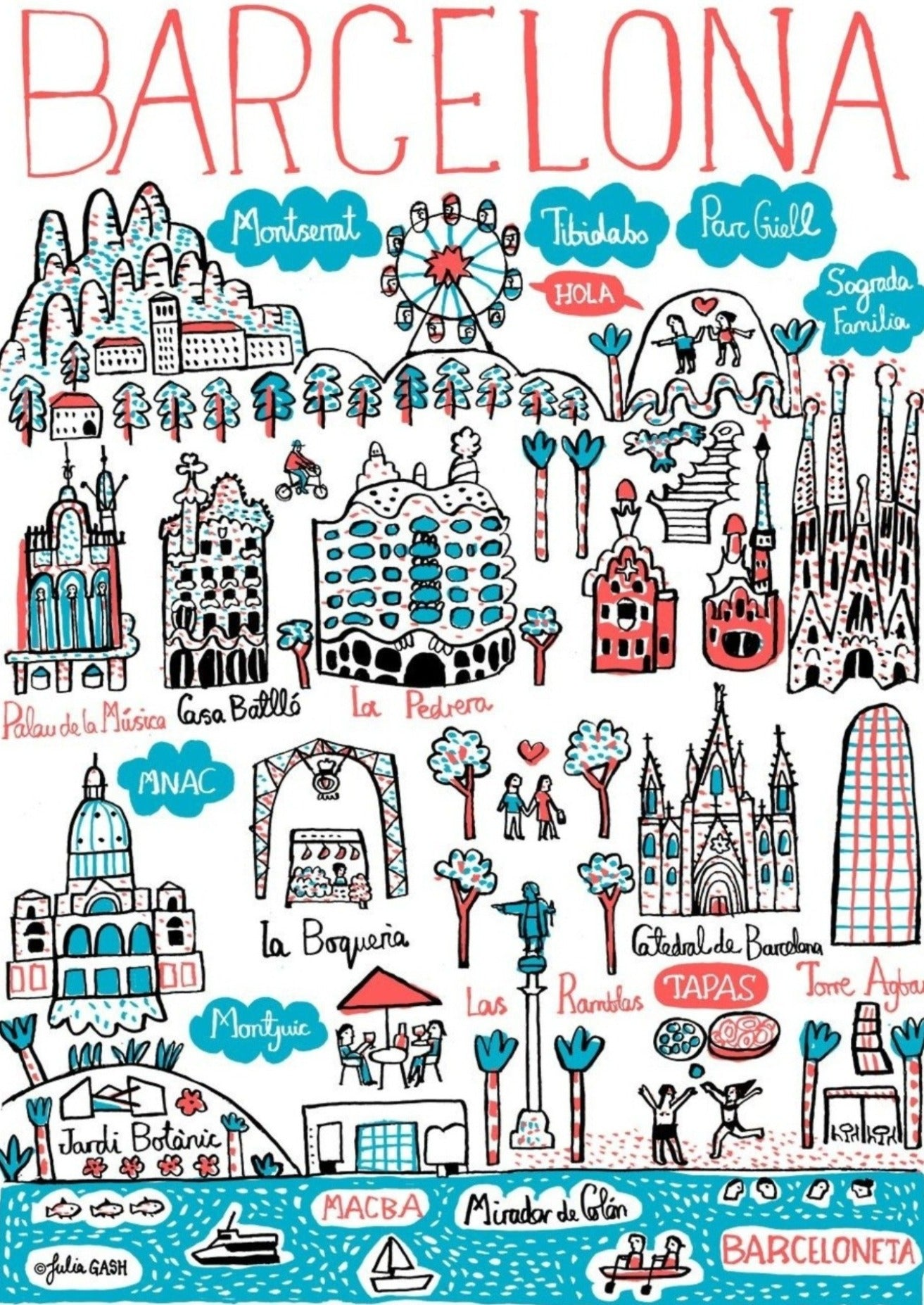 Barcelona Art Print by British Travel Artist Julia Gash - Julia Gash
