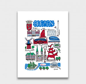 Bremen Art Print by British Travel Artist Julia Gash - Julia Gash