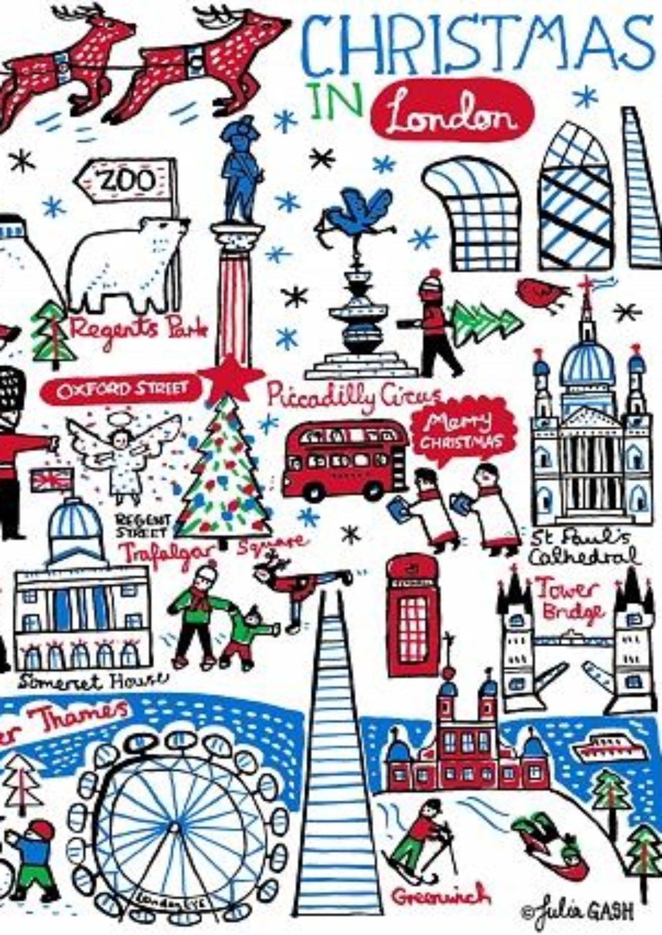 Christmas in London Art Print - Julia Gash