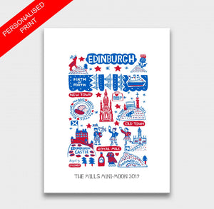 Edinburgh by Dasher Art Print by British Travel Artist Julia Gash - Julia Gash