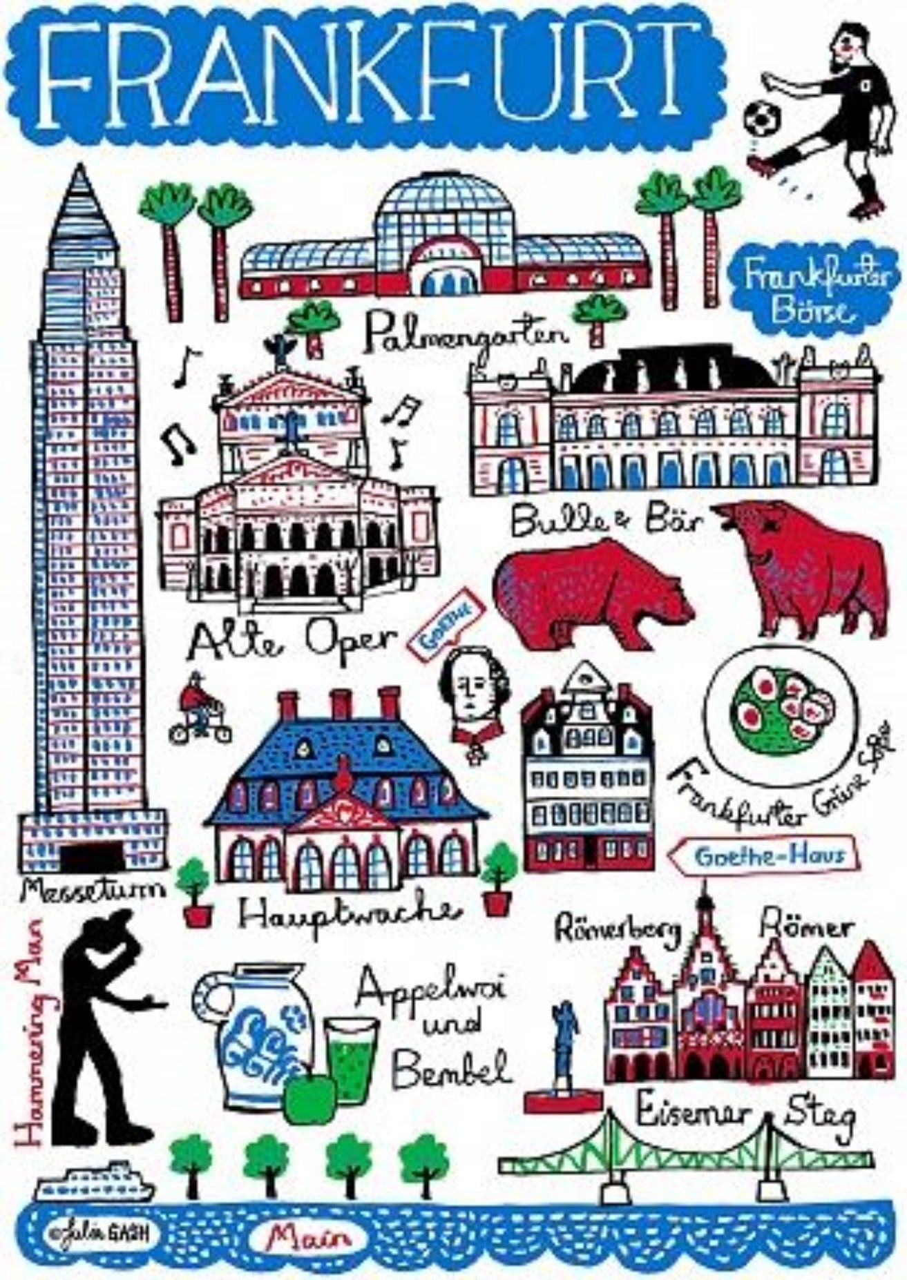 Frankfurt Art Print by British Travel Artist Julia Gash - Julia Gash