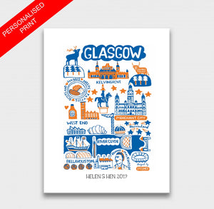 Glasgow by Dasher Art Print by British Travel Artist Julia Gash - Julia Gash