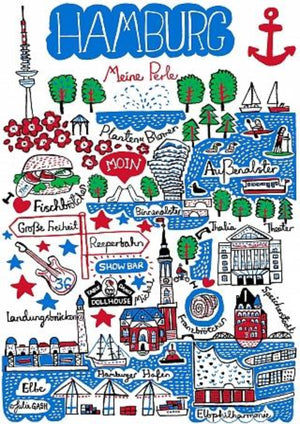 Hamburg Art Print by British Travel Artist Julia Gash - Julia Gash