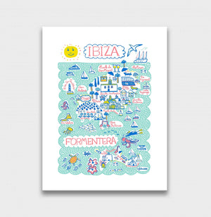 Ibiza Art Print by British Travel Artist Julia Gash - Julia Gash