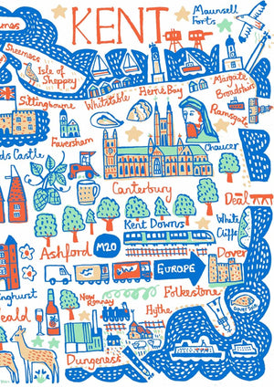 Contemporary Kent travel print illustration featuring Canterbury, Folkestone, Dover, Margate, Ashford Chatham and Maidstone