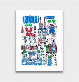 Cologne - Koln Art Print by British Travel Artist Julia Gash - Julia Gash