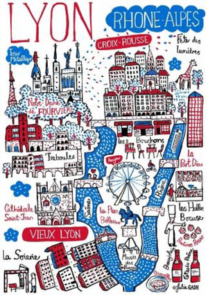 Lyon Art Print by British Travel Artist Julia Gash - Julia Gash