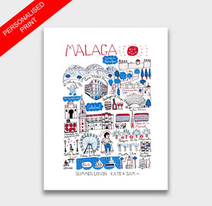 Malaga Art Print by British Travel Artist Julia Gash - Julia Gash