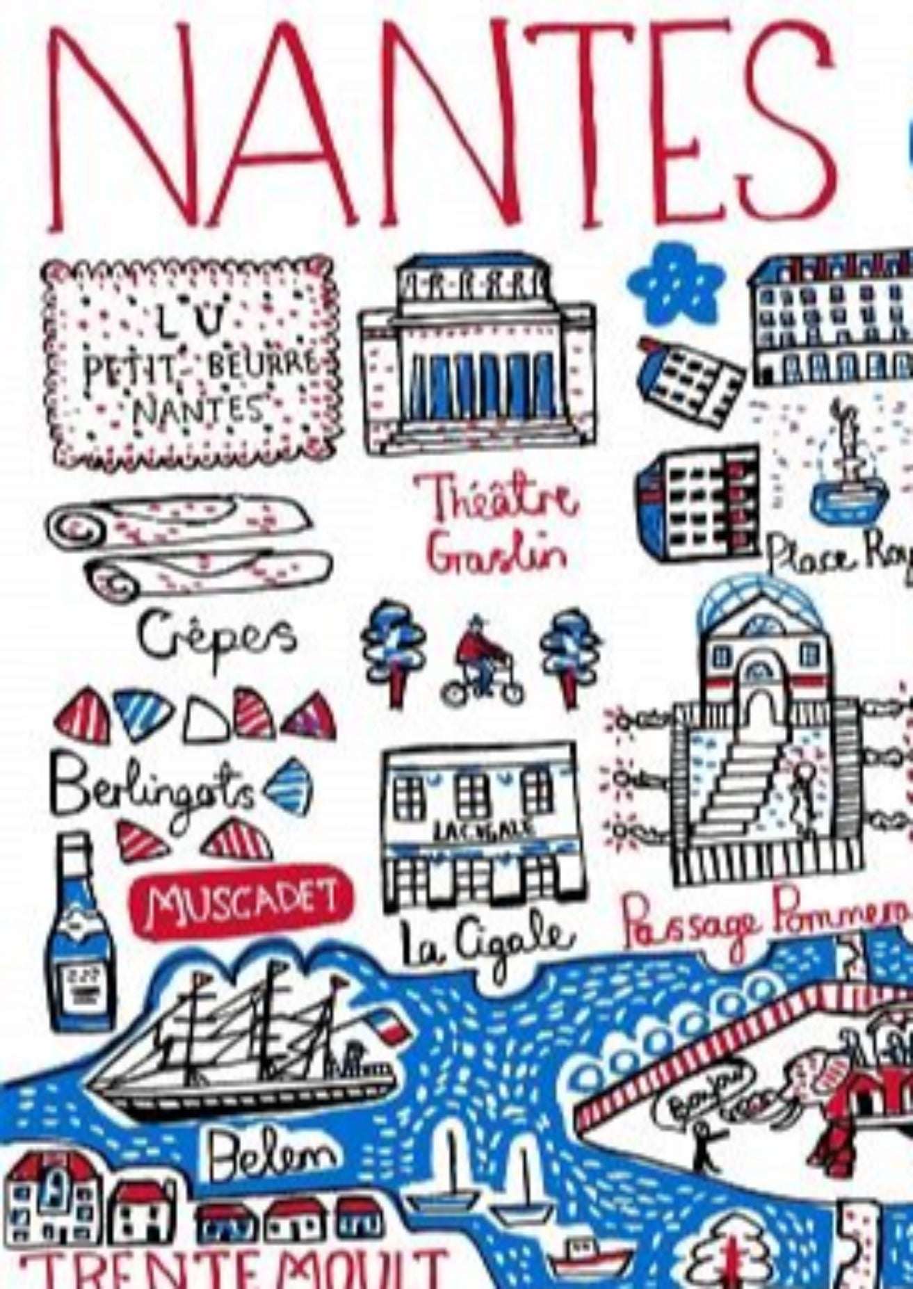 Nantes Art Print by British Travel Artist Julia Gash - Julia Gash