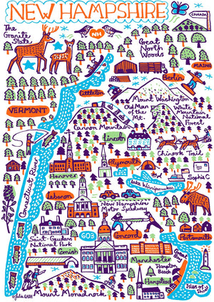 New Hampshire Art Print by British Travel Artist Julia Gash - Julia Gash