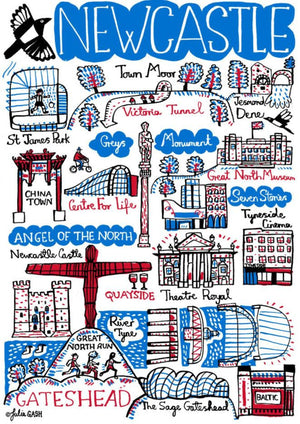 Newcastle Art Print by British Travel Artist Julia Gash - Julia Gash