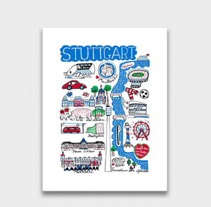 Stuttgart Art Print by British Travel Artist Julia Gash - Julia Gash