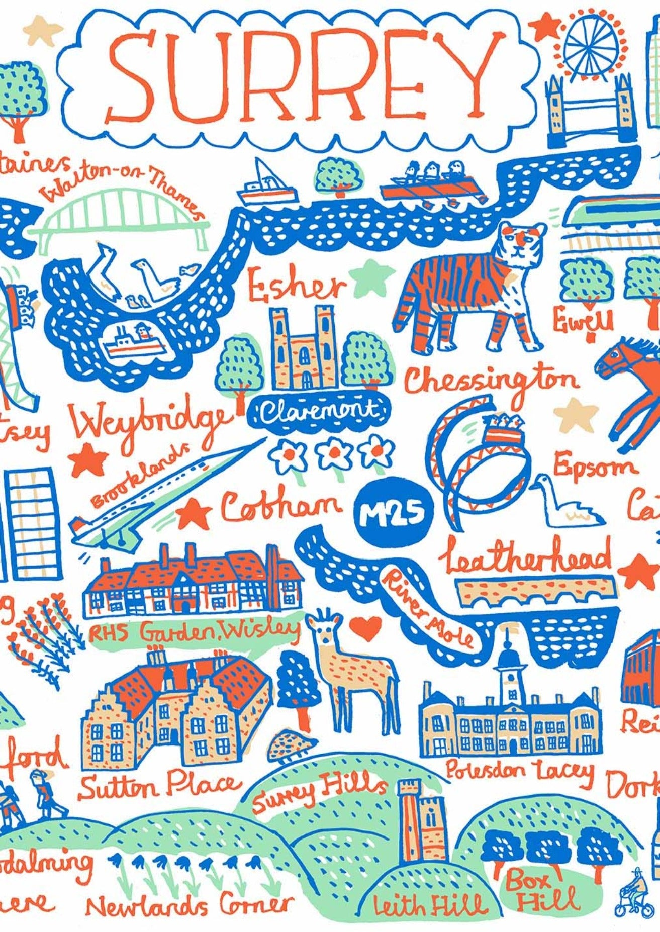 Whimsical illustration of Surrey, England, featuring Woking, Guilford, Weybridge, Redhill. Camberley and London, illustrated by British travel artist Julia Gash