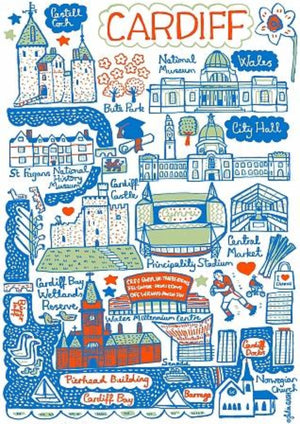 Cardiff Artwork by British Travel Artist Julia Gash - Julia Gash