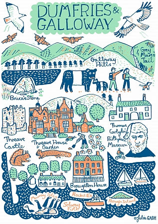Dumfries and Galloway Art Print by British Travel Artist Julia Gash - Julia Gash