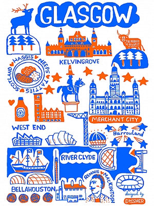 Glasgow by Dasher Art Print - Julia Gash