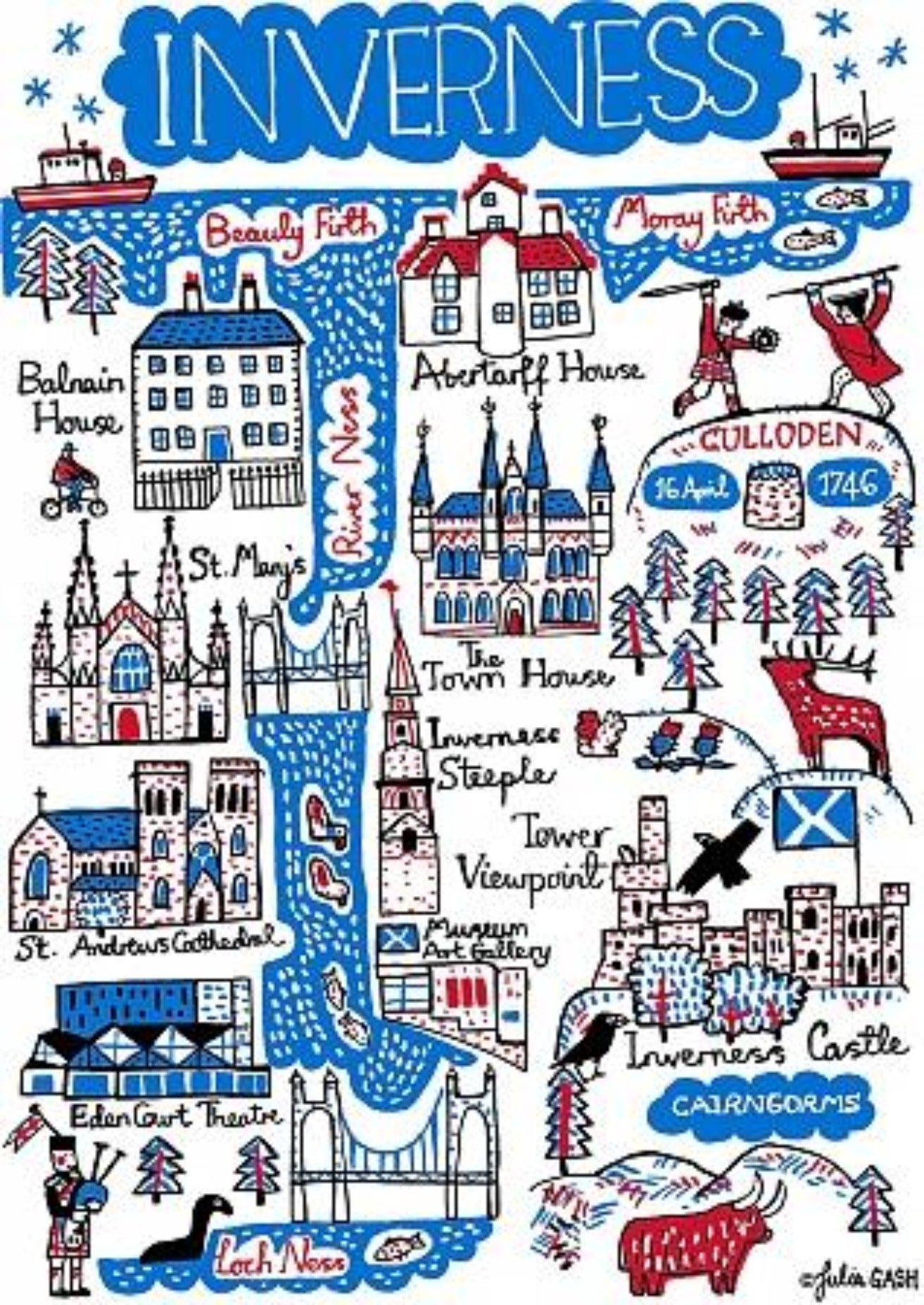 Inverness Art Print by British Travel Artist Julia Gash - Julia Gash