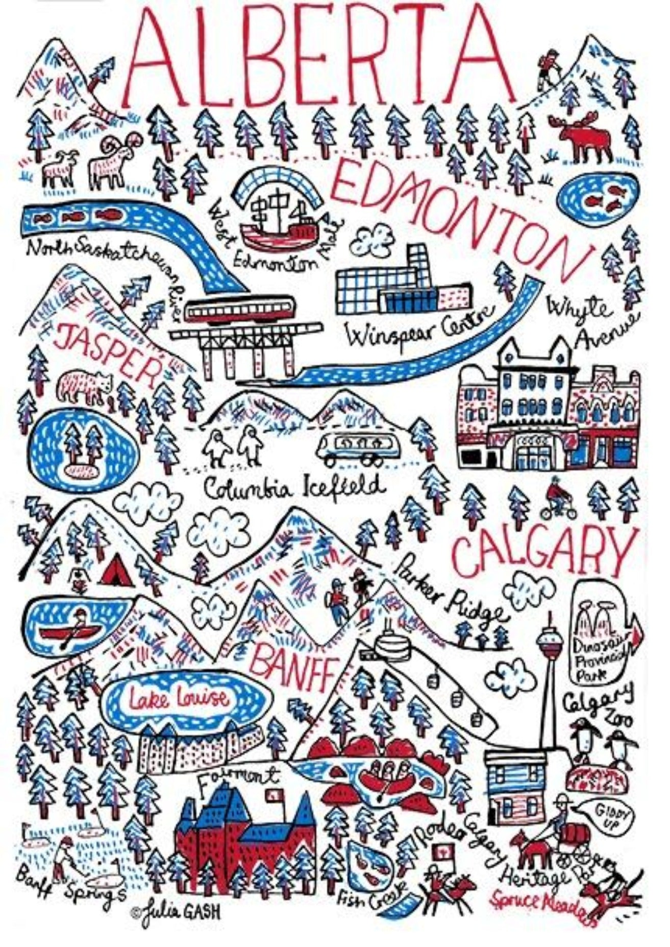Alberta Art Print by British Travel Artist Julia Gash - Julia Gash