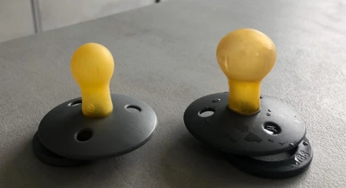 Example deformed natural rubber pacifier