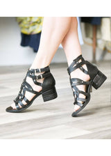 A.S. 98 | Block Heeled Gladiator Sandals in Black