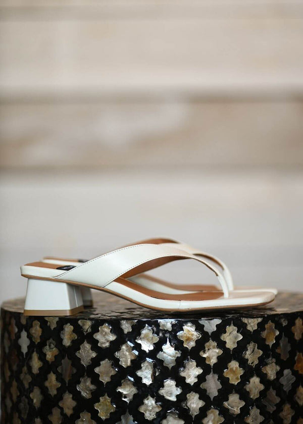 Angel Alarcon | Sol Square-toe block heeled flip flop sandal in Cream