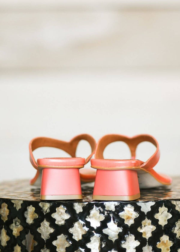 Angel Alarcon | Sol Square-toe block heeled thong slide in Coral