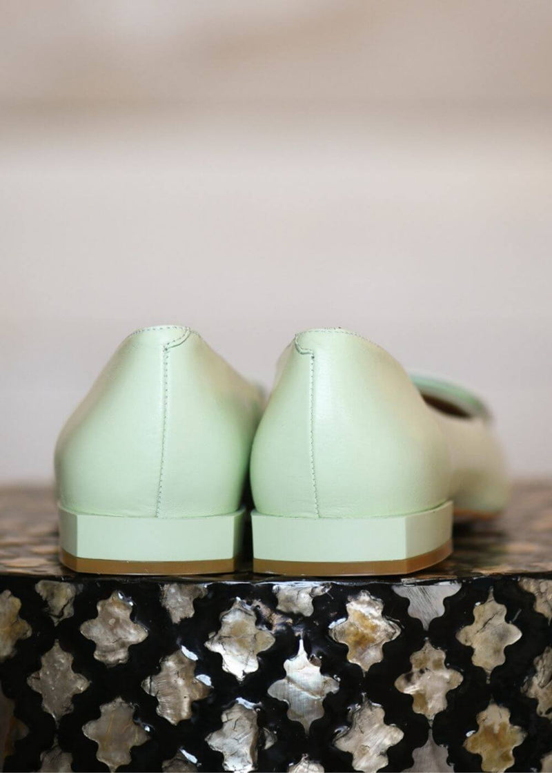 Angel Alarcon | The Iconic Buckle Ballet Flats in pastel green