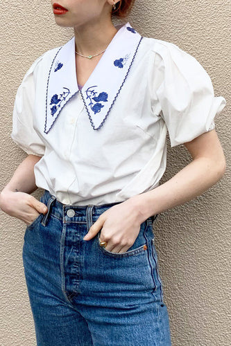 Rose Scallop Collar Blouse / White