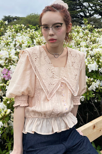 Lacy Sailor Blouse / Beige
