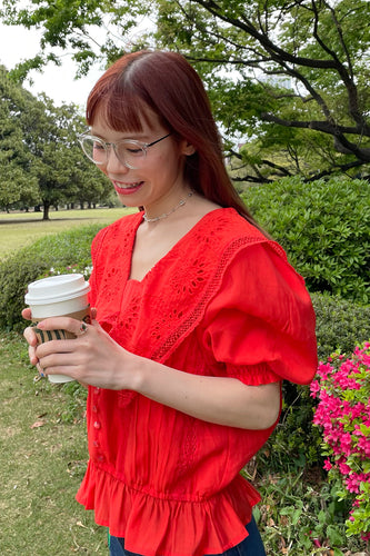 【新色】Lacy Sailor Blouse / Red
