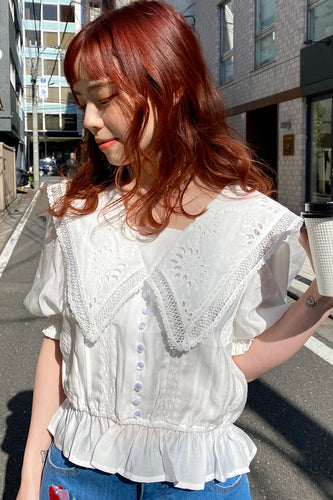 Lacy Sailor Blouse / White