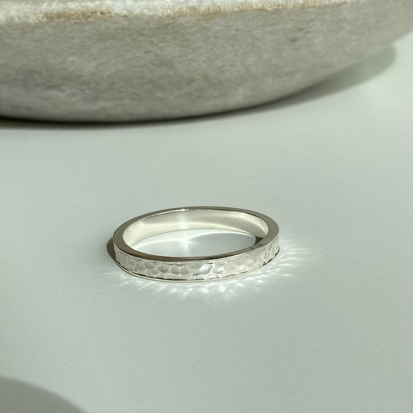 Hammered Silver band with Edge - UK Size Q - US 8 1/4