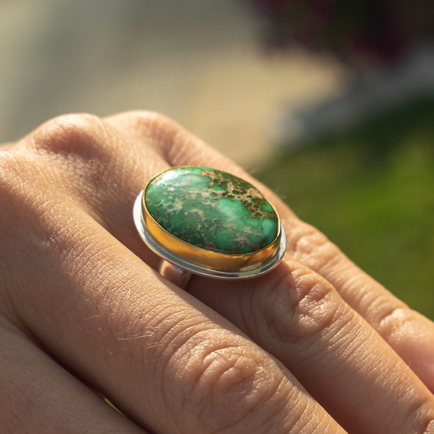 Natural Carico Lake Green Turquoise Ring in 22k Gold with Silver Band,  Size UK P - US 7 3/4