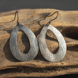 Swirl Patterned Teardrop Silver Earrings with Antique Finish