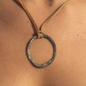 Organic Antiqued Hammered Silver Circle on a Leather Necklace