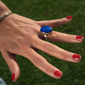 Lapis Lazuli Encased in 22k Gold on a Wide Sterling Silver Ring - Uk Size  P 1/2  - US 8