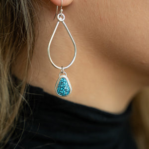 Teardrop Gem Earrings - Kingman Blackweb Turquoise
