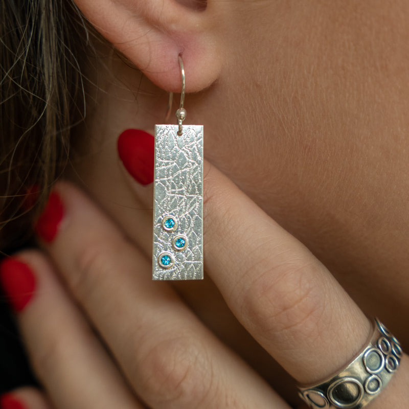 Hammered Silver Rectangle Earrings with Paraiba Topaz stones